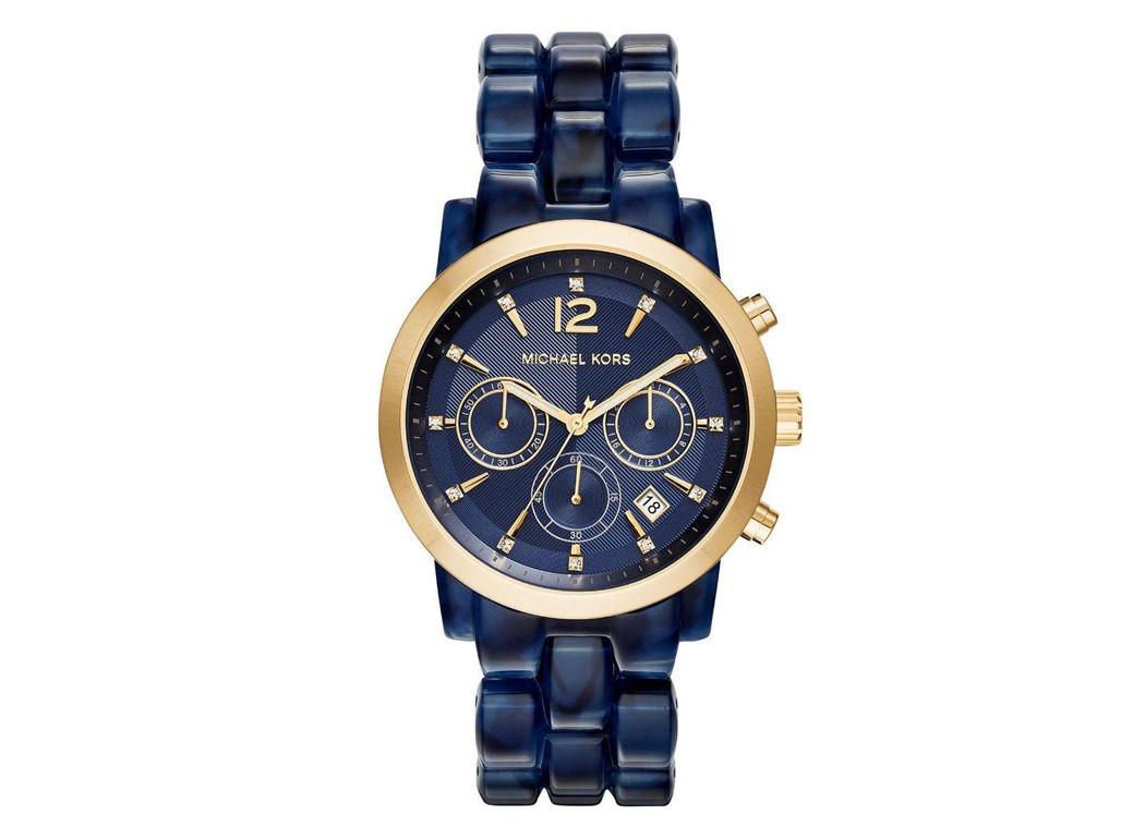 Relógio Michael Kors Azul e Dourado Feminino Authentika Joias 095141cd0c
