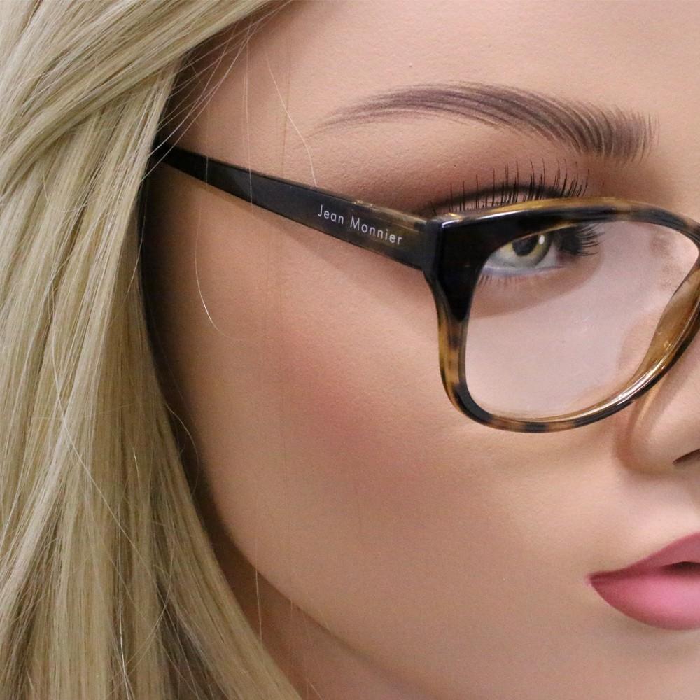 fb7f333810087 ... Óculos de Grau Jean Monnier Gatinho Acetato Tartaruga Aro Fechado Sem  Plaquetas 0j83148 d992 51