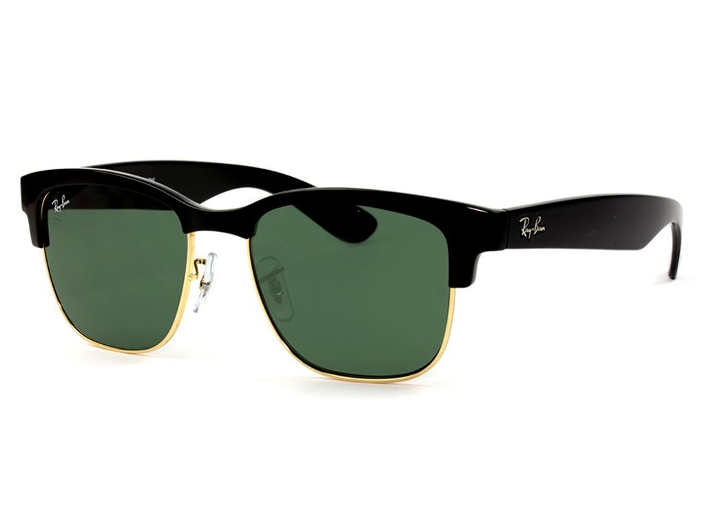 76941f8c9e76c Óculos de Sol Ray-Ban Clubmaster Armação Acetato Preta Lente Verde Comum  Com Plaquetas 0rb4239l601