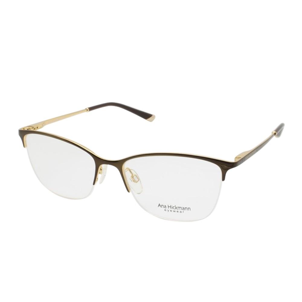 9e50766d52495 Óculos de Grau Ana Hickmann Gatinho Metal Marrom Aro Aberto Com Plaquetas  ah1318 01a