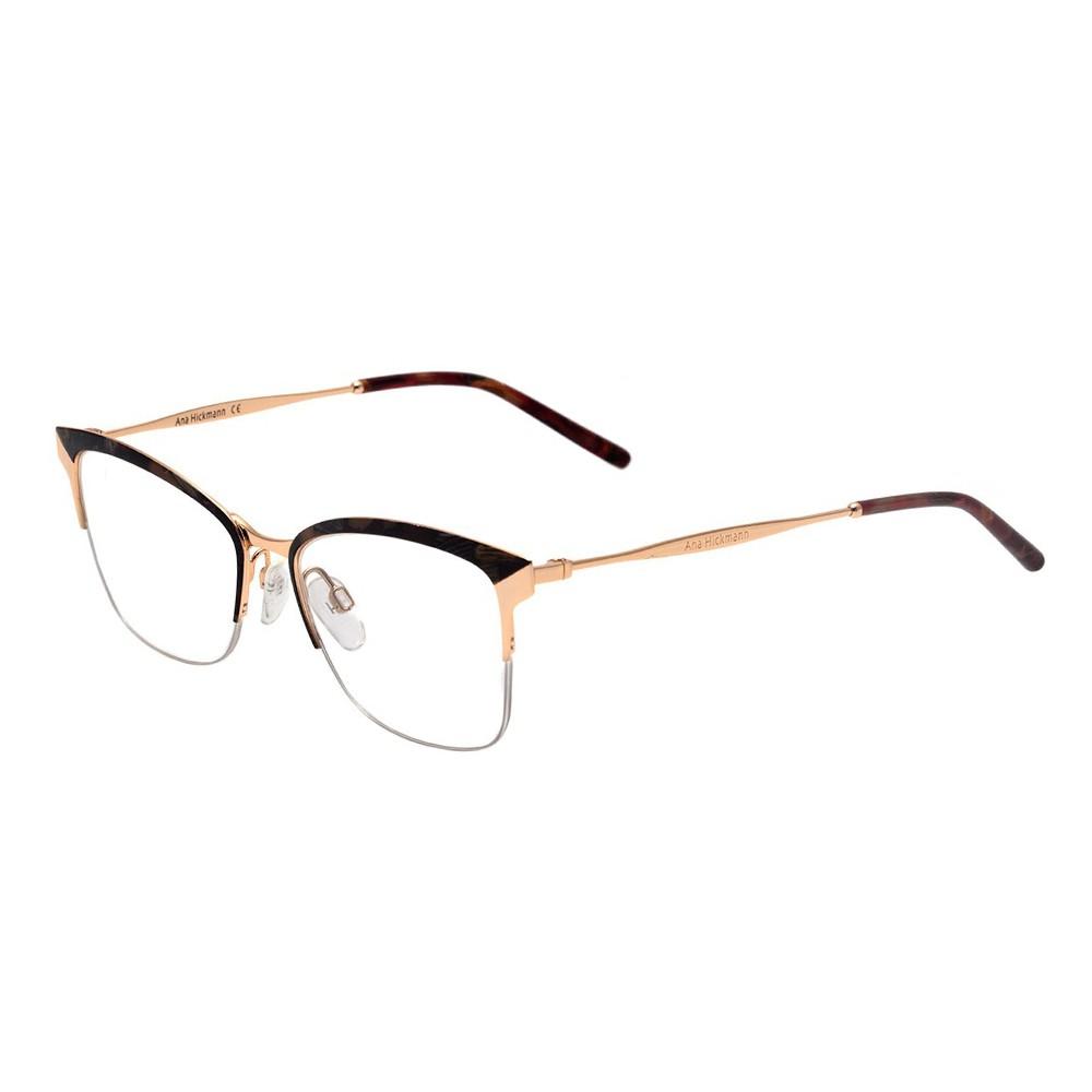 74b29e0921aa2 Óculos de Grau Ana Hickmann Gatinho Metal Tartaruga Aro Aberto Com  Plaquetas ah1353 04c ...