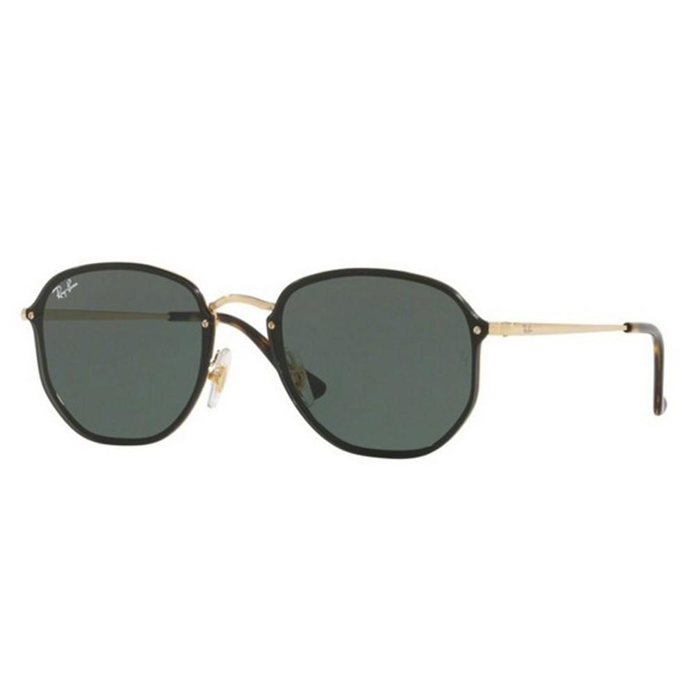 Óculos de Sol Ray-Ban Hexagonal Armação Metal Dourado Lente Preta Comum Com Plaquetas  rb3579n ... 92a00fec44