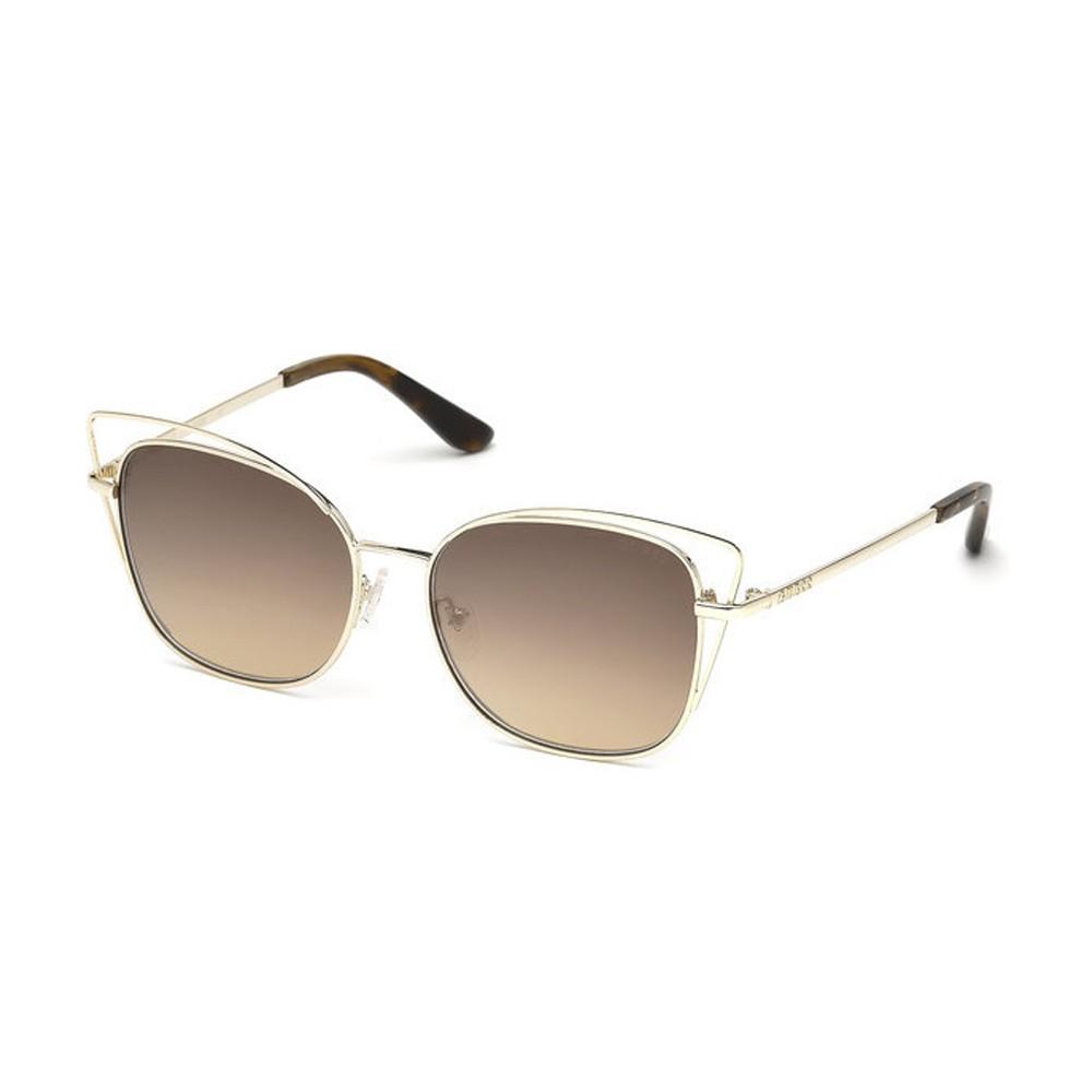 0d430aef2dd9d Óculos de Sol Guess Gatinho Armação Acetato Dourada Lente Marrom Espelhada  Com Plaquetas gu7528 5632g ...