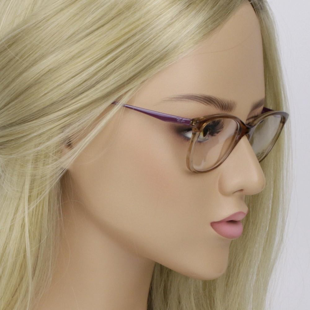 58a9f59d4f855 ... Óculos de Grau Ray-Ban Gatinho Acetato Marrom Aro Fechado Sem Plaquetas  rx7106l 5706 53