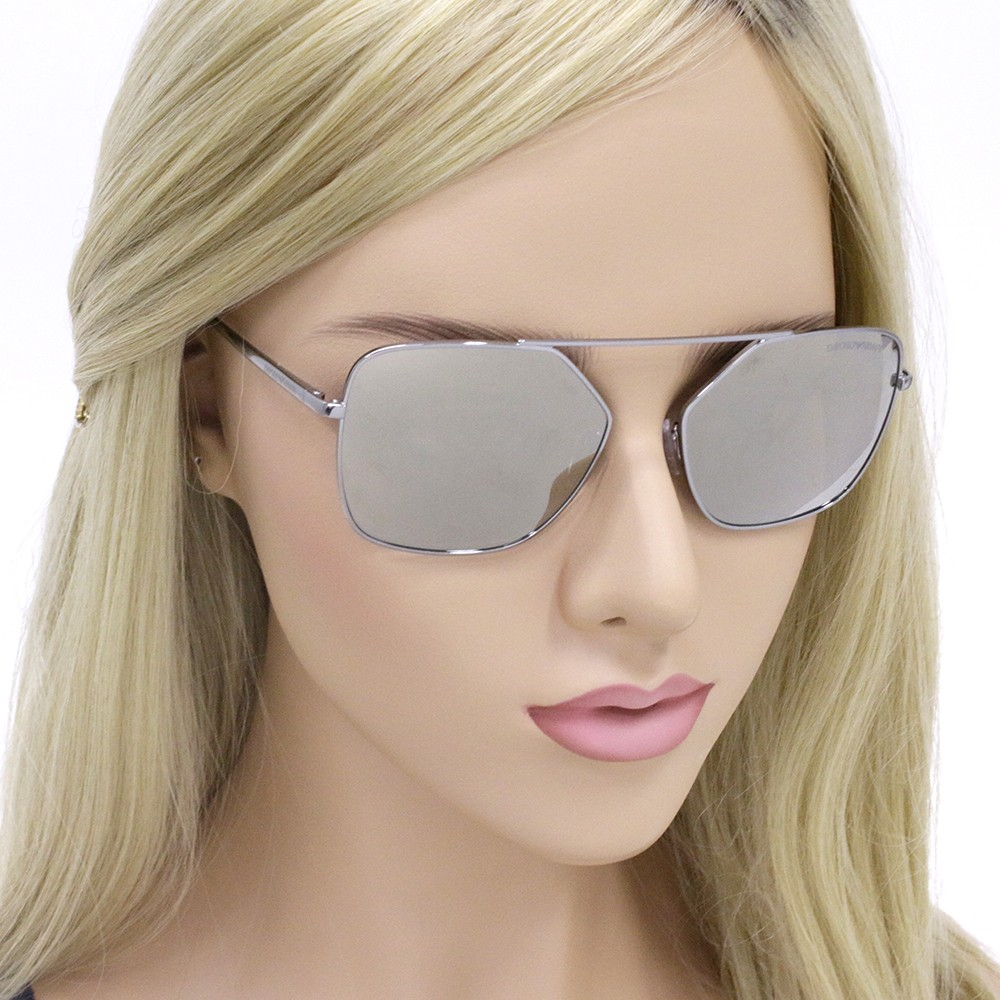 2860d703c015a ... Óculos de Sol Emporio Armani Quadrado Armação Metal Prata Lente Cinza  Espelhada Com Plaquetas 0ea2053 30105a56 ...