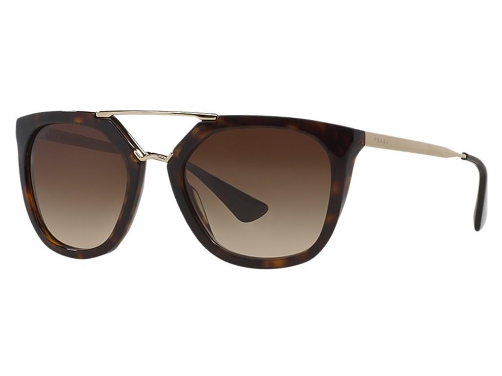 0ca701a05c874 Óculos de Sol Prada Quadrado Armação Acetato Tartaruga Lente Marrom Degradê  Sem Plaquetas 0pr13qs2au6s154