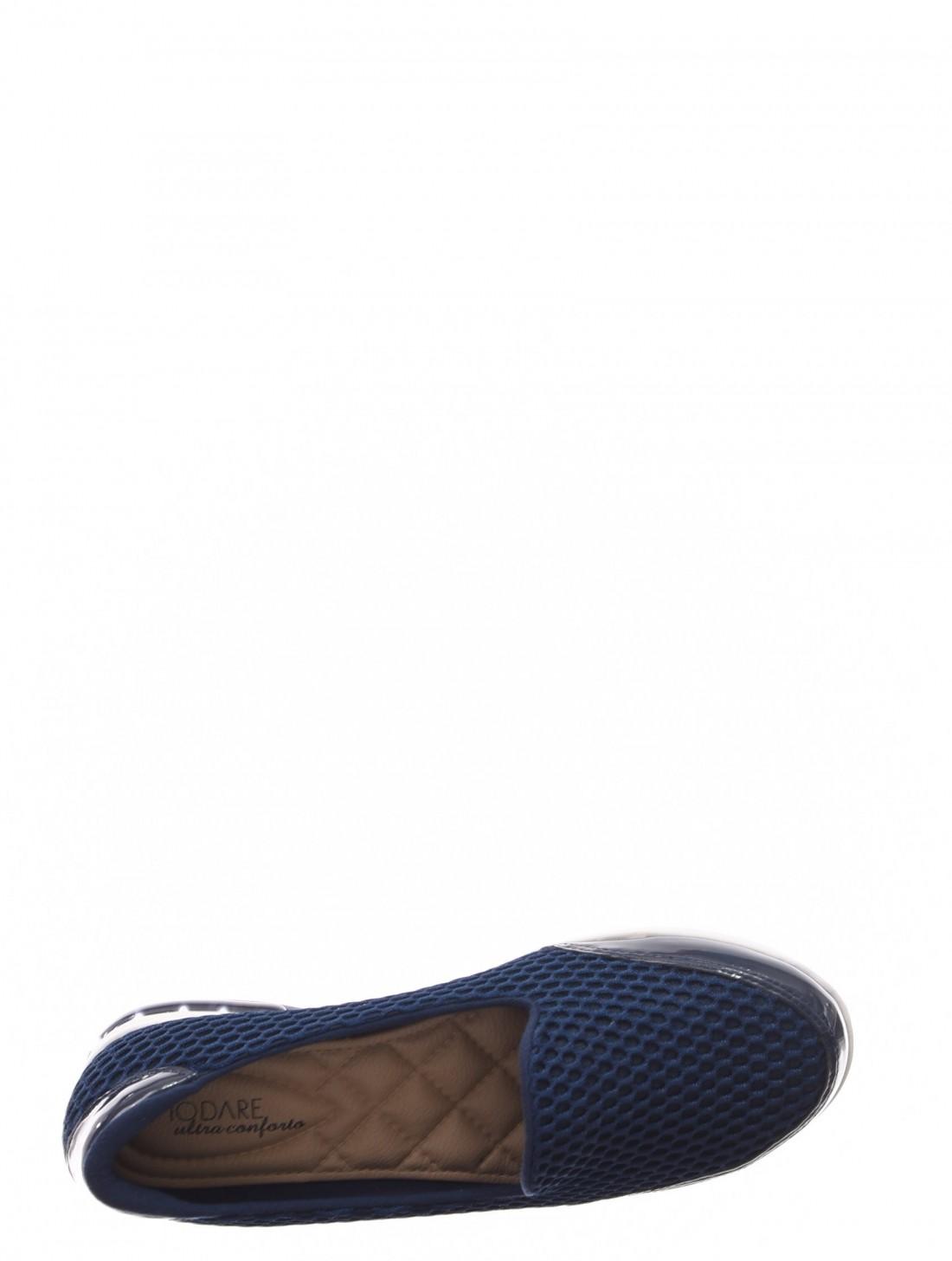 faecf77738 ... Tênis Slip-On Modare Ultra Conforto Tela com Amortecedor Gel Detalhe  Verniz Azul Marinho