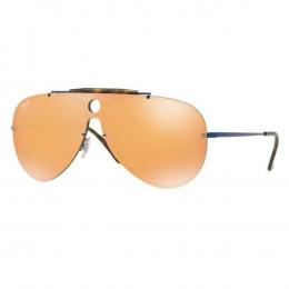 Óculos de Sol Ray-Ban Caçador Armação Metal Azul Lente Laranja Espelhada  Com Plaquetas 0rb3581n 053f74d9db