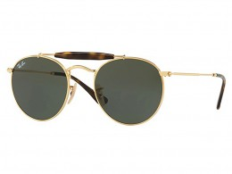 Óculos de Sol Ray-Ban Caçador Armação Metal Dourada Lente Verde Comum Com  Plaquetas 0rb3747 4fa5d0ea55