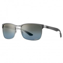 Óculos de Sol Ray-Ban Wayfarer Armação Metal Prata Lente Cinza Cromada  Polarizada Com Plaquetas 71b568c5a9