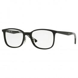Óculos de Grau Ray-Ban Quadrado Acetato Preta Aro Fechado Com Plaquetas  0rx7142 2000 52 3a15b6972c