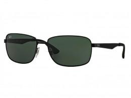 4436b4791fd36 Óculos de Sol Ray-Ban Retangular Armação Metal Preta Lente Verde Comum Com  Plaquetas 0rb3529006