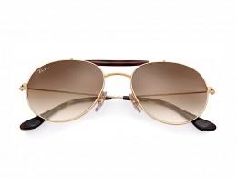 Óculos de Sol Ray-Ban Caçador Armação Metal Dourada Lente Marrom Degradê  Com Plaquetas 0rb3540001 815fd45614