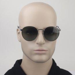 cdc75c6a7ca02 Óculos de Sol Polaroid Redondo Armação Metal Cinza Lente Verde Comum Com  Plaquetas pld 2053
