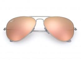 d1b637a3854e4 Óculos de Sol Ray-Ban Aviador Armação Metal Prata Lente Rosa Espelhada Com  Plaquetas 0rb3025l