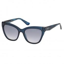 0f100b4c5cf49 Óculos de Sol Guess Gatinho Armação Acetato Azul Lente Azul Espelhada Sem  Plaquetas gu7540 5590x