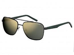 abd8a982fc481 Óculos de Sol Polaroid Quadrado Armação Metal Preto Lente Dourada Espelhada  Com Plaquetas pld 2044