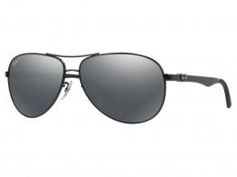 Óculos de Sol Ray-Ban Aviador Armação Metal Preto Lente Cinza Polarizada  Com Plaquetas 0rb8313 e3af829f5c