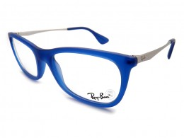e9c503fe63d71 Óculos de Grau Ray-Ban Quadrado Acetato Azul Aro Fechado Sem Plaquetas  rx7041l556852