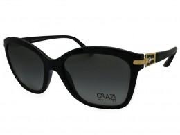 5b1865f5a88b4 Óculos de Sol Grazi Massafera Gatinho Armação Acetato Preto Lente Preta  Degradê Sem Plaquetas 0gz4003B D188