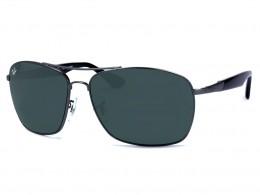 dda001ba0dd74 Óculos de Sol Ray-Ban Retangular Armação Metal Cinza Lente Preta Comum Com  Plaquetas 0rb3531l041