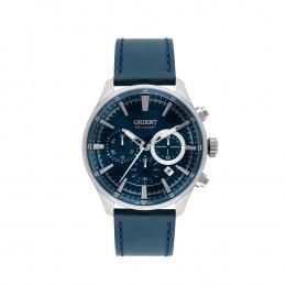 ad2cfec2bb0 Relógio Orient Chronograph Caixa Redonda Analógico Metal Prata Pulseira  Couro Azul mbscc051 d1dx