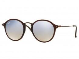 Óculos de Sol Ray-Ban Redondo Armação Acetato Marrom Lente Cinza Espelhada  Sem Plaquetas 0rb2447n62569u49 b5b2f11396