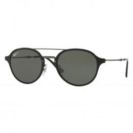 Óculos de Sol Ray-Ban Redondo Armação Acetato Preto Lente Preta Polarizada  Com Plaquetas 0rb4287 736e10ea75