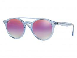 7d9da7a49e976 Óculos de Sol Ray-Ban Redondo Armação Acetato Azul Lente Rosa Espelhada Sem  Plaquetas 0rb4279