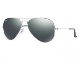 91fd9070c1c0a Óculos de Sol Ray-Ban Aviador Armação Metal Prata Lente Cinza Espelhada Com  Plaquetas 0rb3025lw327758