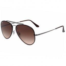 55b96b297a216 Óculos de Sol Ray-Ban Aviador Armação Metal Prata Lente Marrom Degradê Com  Plaquetas 0rb3584n