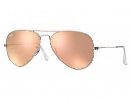 ac6ac9edf9e32 Óculos de Sol Ray-Ban Aviador Armação Metal Prata Lente Rosa Espelhada Com  Plaquetas 0rb3025l