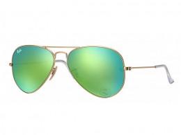d90f21ba58b7a Óculos de Sol Ray-Ban Aviador Armação Metal Dourada Lente Verde Espelhada  Com Plaquetas 0rb3025l112