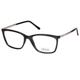 315cd8f1bdc28 Óculos de Grau Grazi Massafera Retangular Acetato Preta Aro Fechado Sem  Plaquetas 0gz3042 f246 54