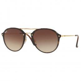 8c22f72b1423f Óculos de Sol Ray-Ban Redondo Armação Metal Dourado Lente Marrom Degradê  Com Plaquetas 0rb4292n