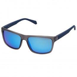 b2214e39533f2 Óculos de Sol Polaroid Quadrado Armação Acetato Preto Lente Azul Espelhada  Sem Plaquetas pld 2058