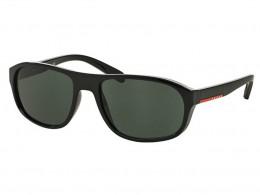 4e8eb63c5dd12 Óculos de Sol Prada Retangular Armação Acetato Preta Lente Verde Comum Sem  Plaquetas 0ps01rs1ab3o158