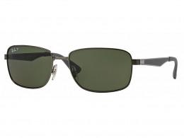 f84499270d778 Óculos de Sol Ray-Ban Retangular Armação Metal Cinza Lente Verde Polarizada  Com Plaquetas 0rb3529029