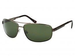 c1e694213a923 Óculos de Sol Polaroid Retangular Armação Metal Cinza Lente Verde Comum Com  Plaquetas p4314 kih 63rc