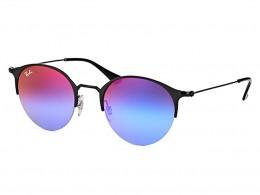 75b509422da03 Óculos de Sol Ray-Ban Redondo Armação Metal Preto Lente Roxa Espelhada Com  Plaquetas 0rb3578