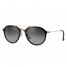acd4627b8e0f5 Óculos de Sol Ray-Ban Redondo Armação Acetato Preta e Dourado Lente Preta  Degradê Com