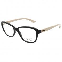 67d04f1d85f04 Óculos de Grau Grazi Massafera Quadrado Acetato Preta Aro Fechado Sem  Plaquetas 0gz3037 f062 54
