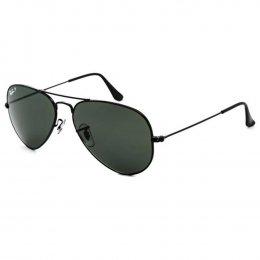 Óculos de Sol Ray-Ban Aviador Armação Metal Preta Lente Verde Polarizada  Com Plaquetas 0rb3025l 9a82b9df56