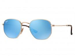 Óculos de Sol Ray-Ban Hexagonal Armação Metal Dourada Lente Azul Espelhada  Com Plaquetas 0rb3548n001 b15e4e15b9