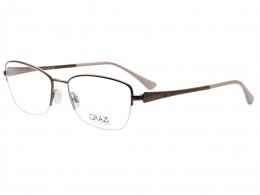 b0c580c197026 Óculos de Grau Grazi Massafera Quadrado Metal Marrom Aro Aberto Com  Plaquetas 0gz1004 d806 53