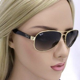 ae5268aea9e1a Óculos de Sol Ray-Ban Aviador Armação Metal Dourado Lente Marrom Degradê  Com Plaquetas 0rb3525l