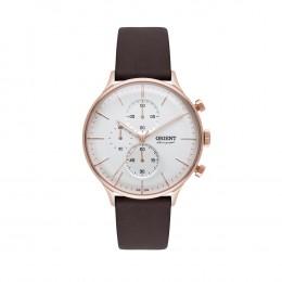 1065b09e060 Relógio Orient Chronograph Caixa Redonda Analógico Metal Rosê Pulseira  Silicone Marrom mrscc014 s1nx
