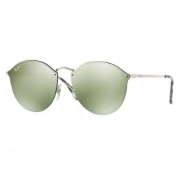 fd63ea510a2ab Óculos de Sol Ray-Ban Redondo Armação Metal Prata Lente Verde Espelhada Com  Plaquetas 0rb3574n