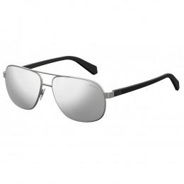 e7763e6871121 Óculos de Sol Polaroid Redondo Armação Metal Cinza Lente Cinza Espelhada  Com Plaquetas pld 2059