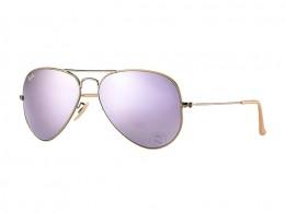 4b068d84ad3f9 Óculos de Sol Ray-Ban Aviador Armação Metal Bege Lente Roxa Espelhada Com  Plaquetas 0rb3025167